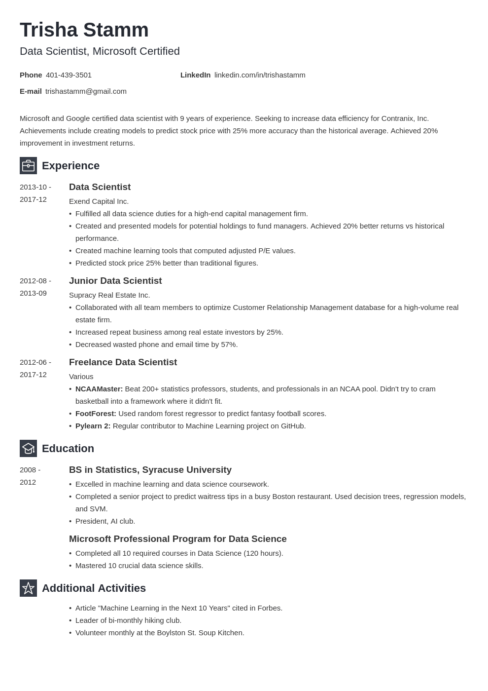 data scientist resume example template newcast