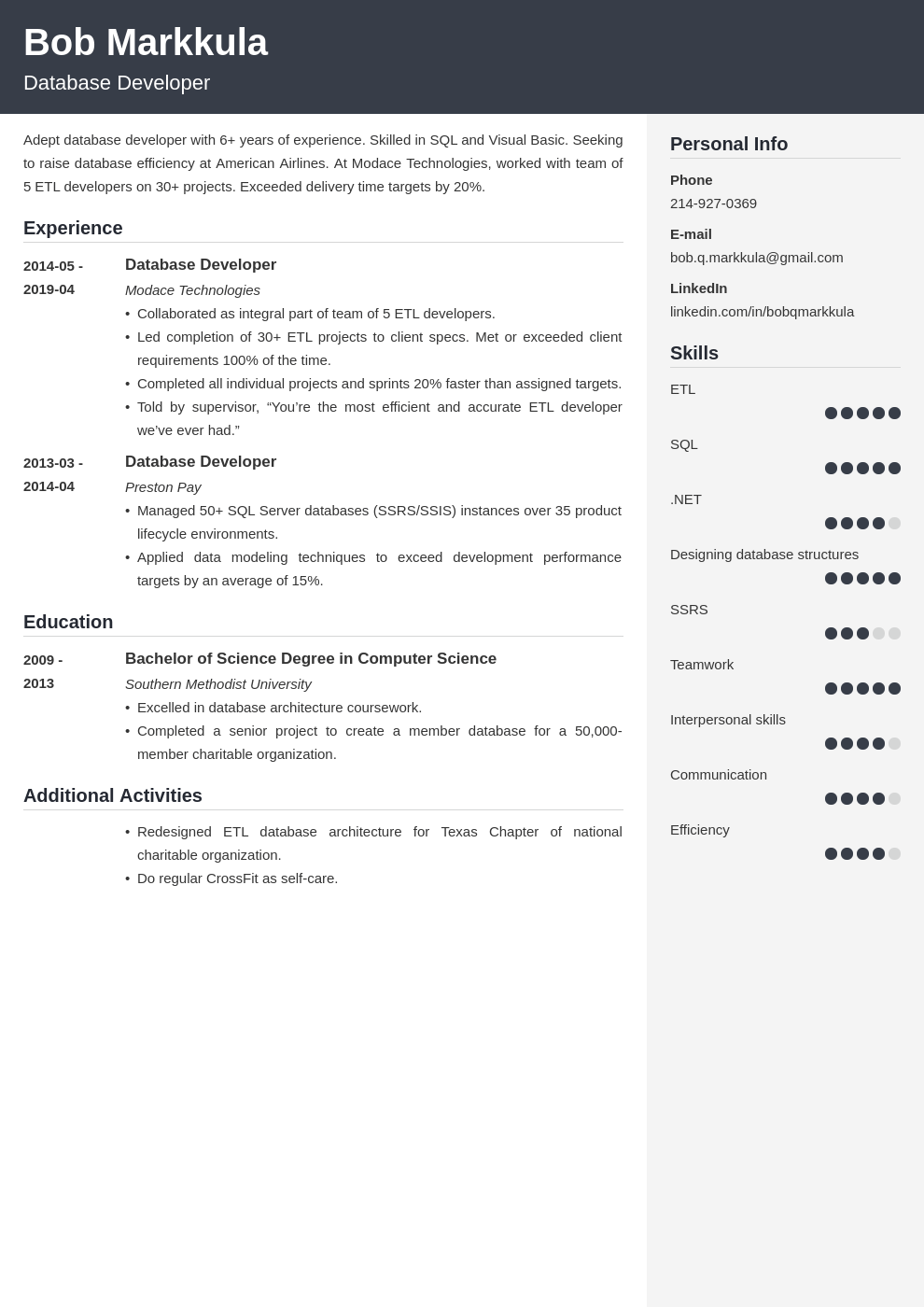 database developer resume example template cubic