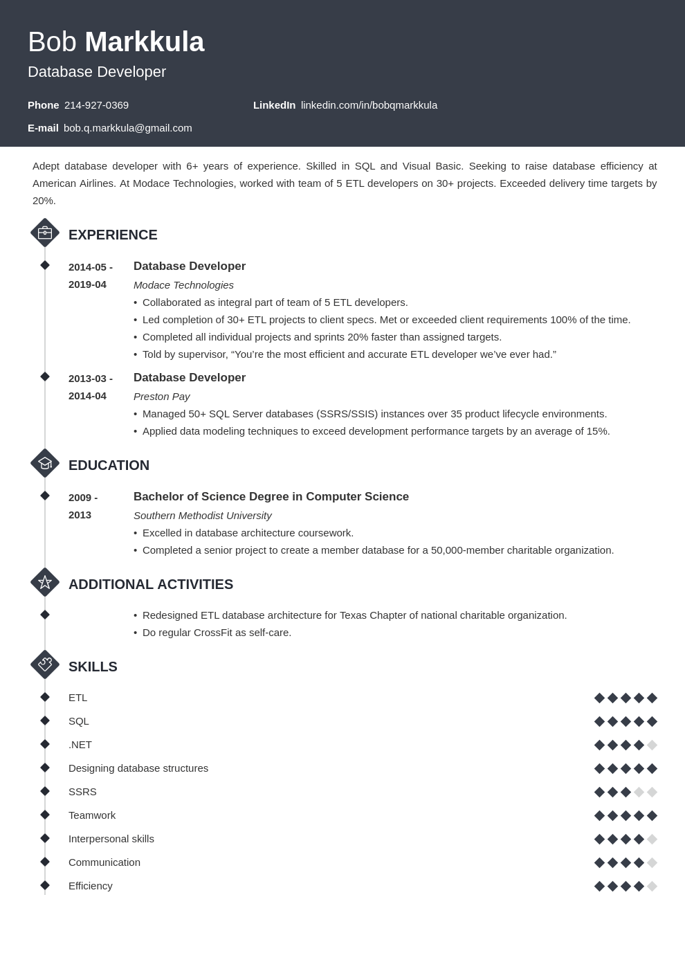database developer resume example template diamond