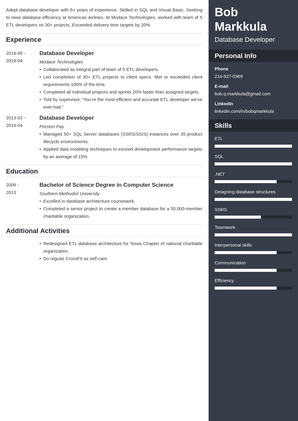 database developer resume example template enfold