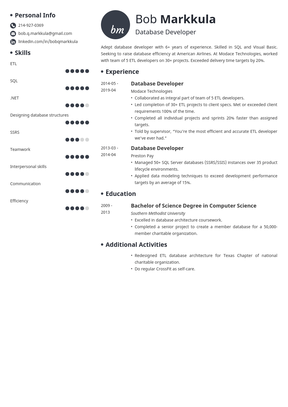 database developer resume example template initials