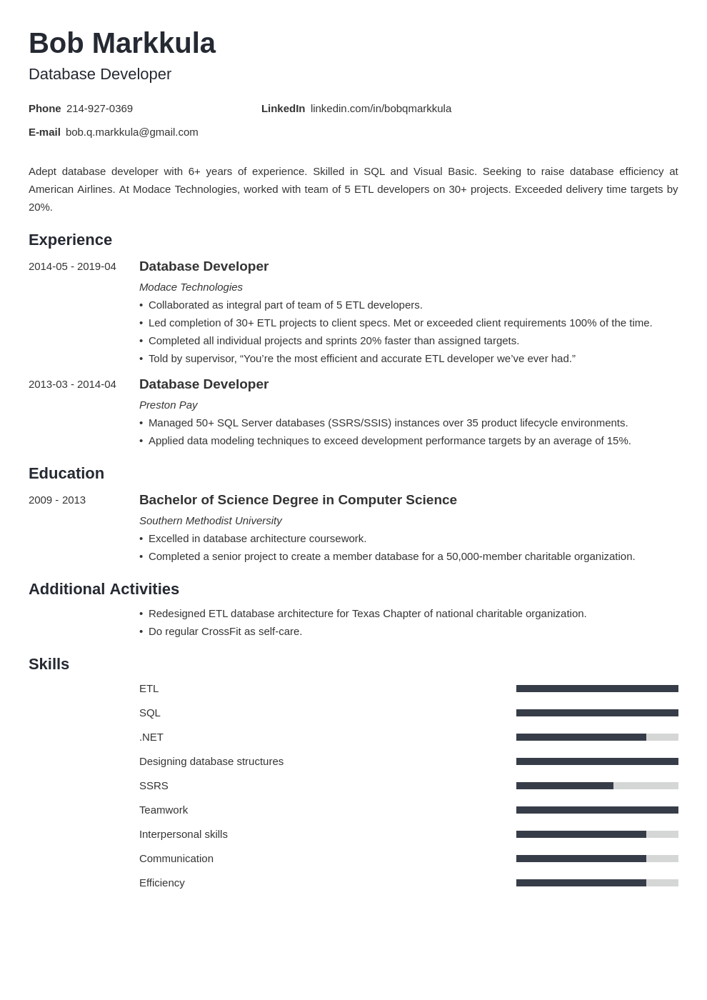 database developer resume example template minimo
