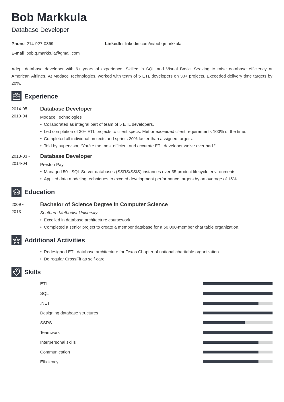 database developer resume example template newcast