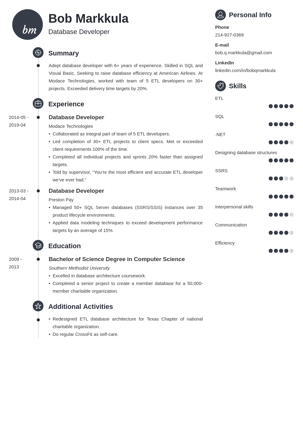 database developer resume example template primo