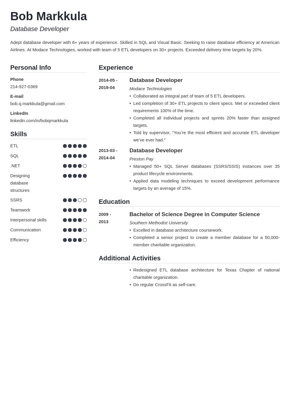 database developer resume example template simple