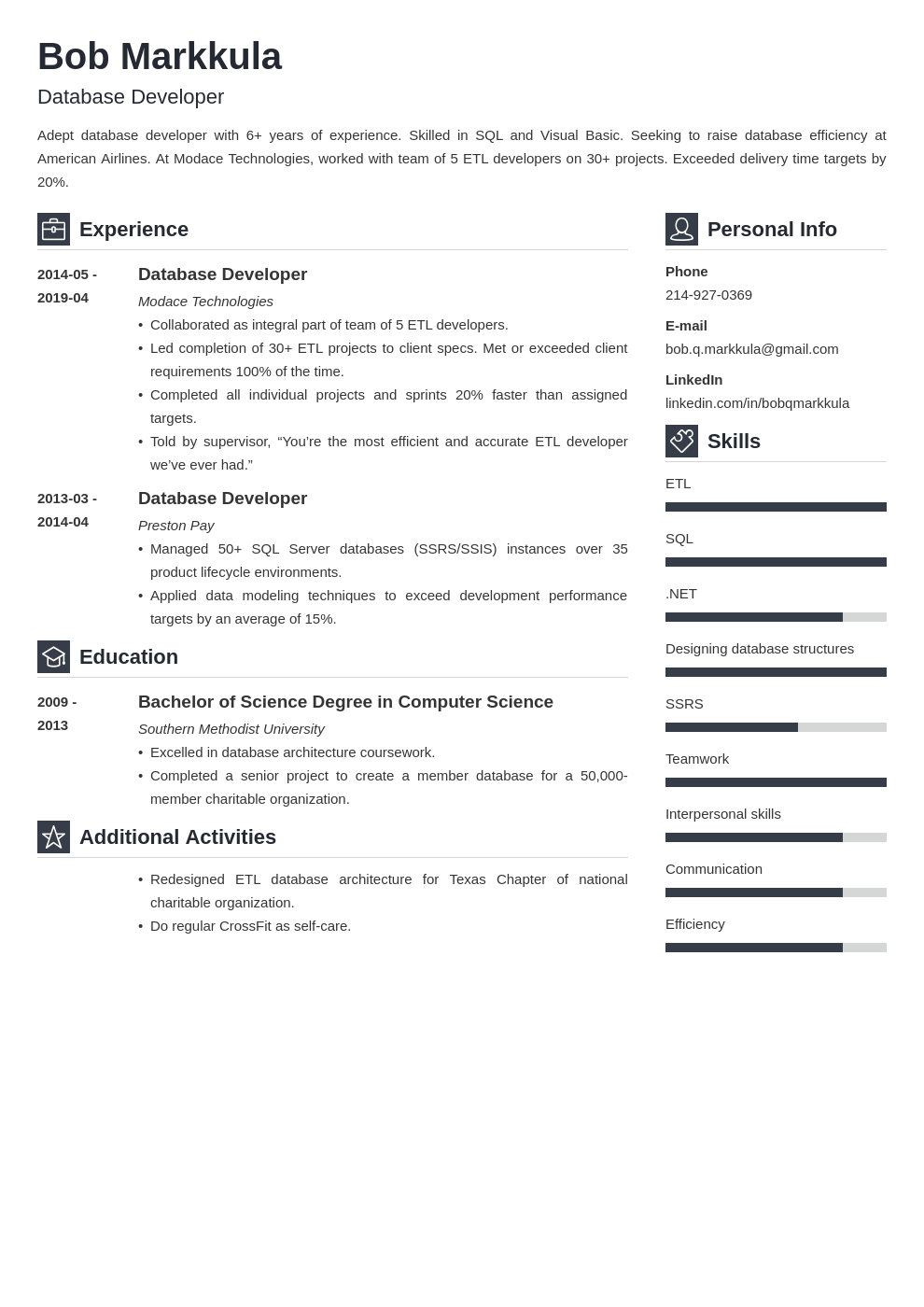 database developer resume example template vibes