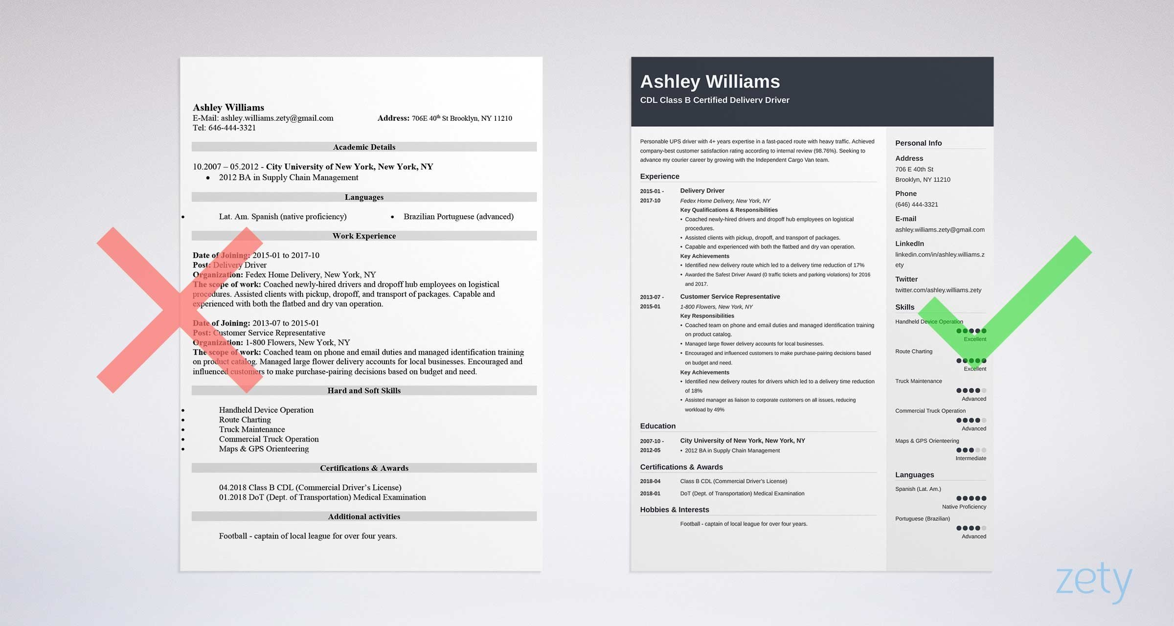 delivery driver resume templates