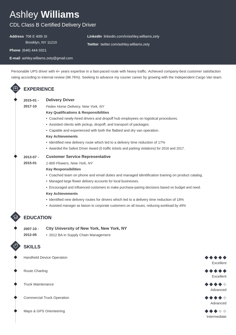 delivery driver resume example template diamond