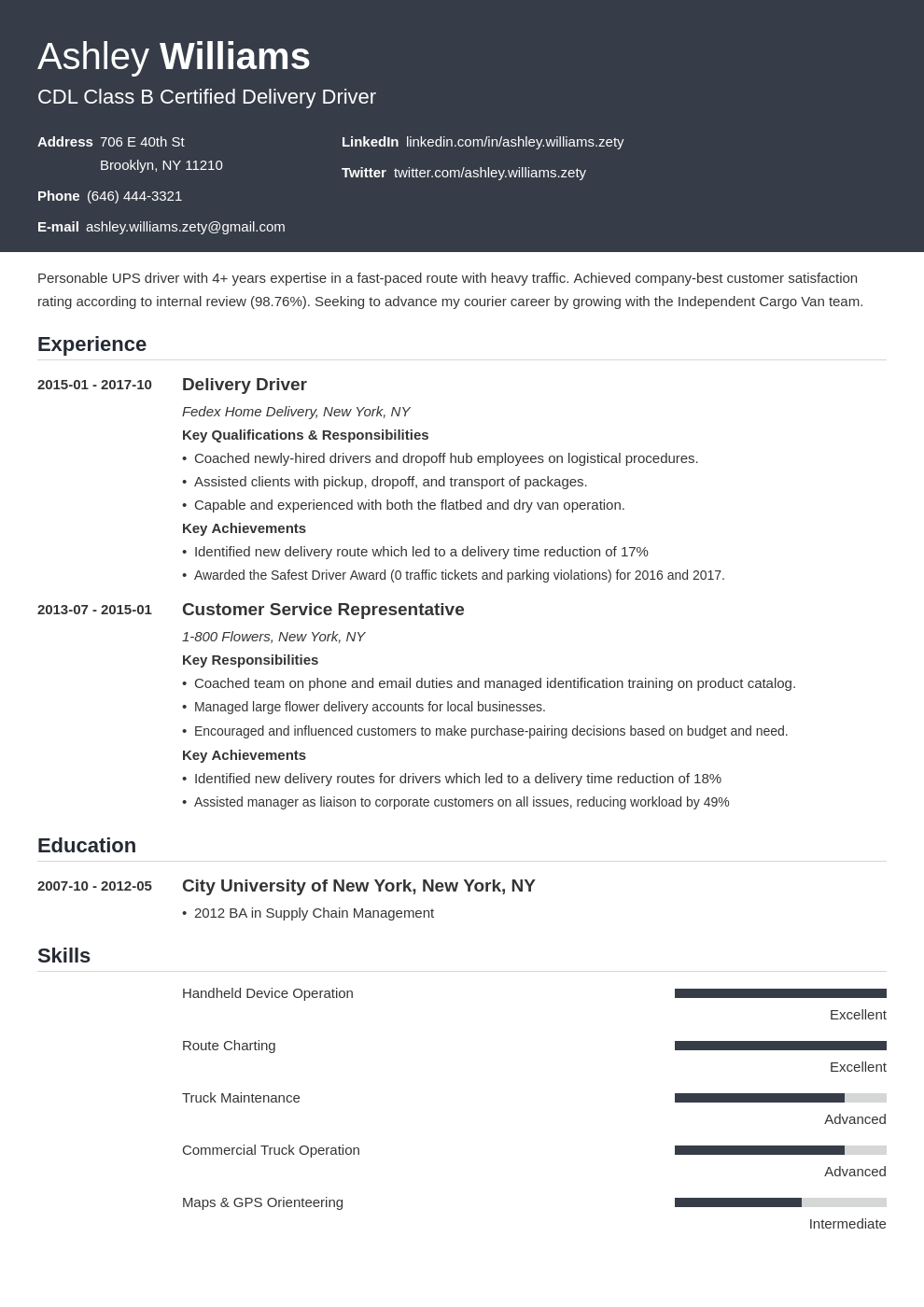 delivery driver resume example template influx