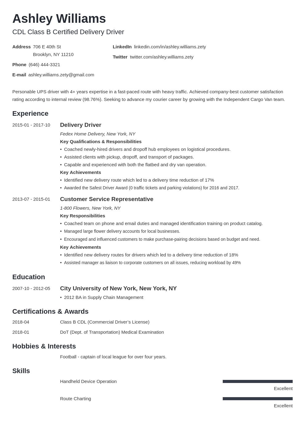 delivery driver resume example template minimo