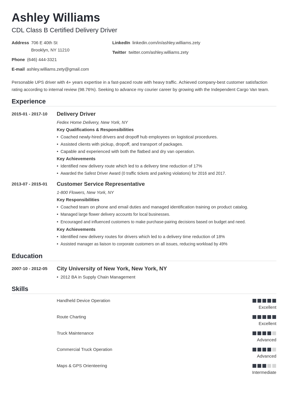 delivery driver resume example template nanica