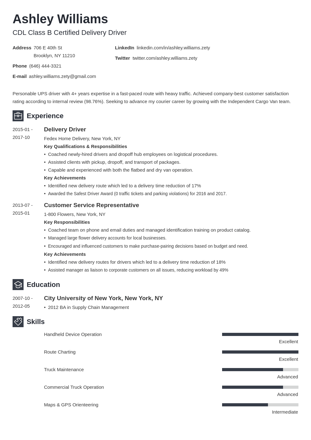 delivery driver resume example template newcast
