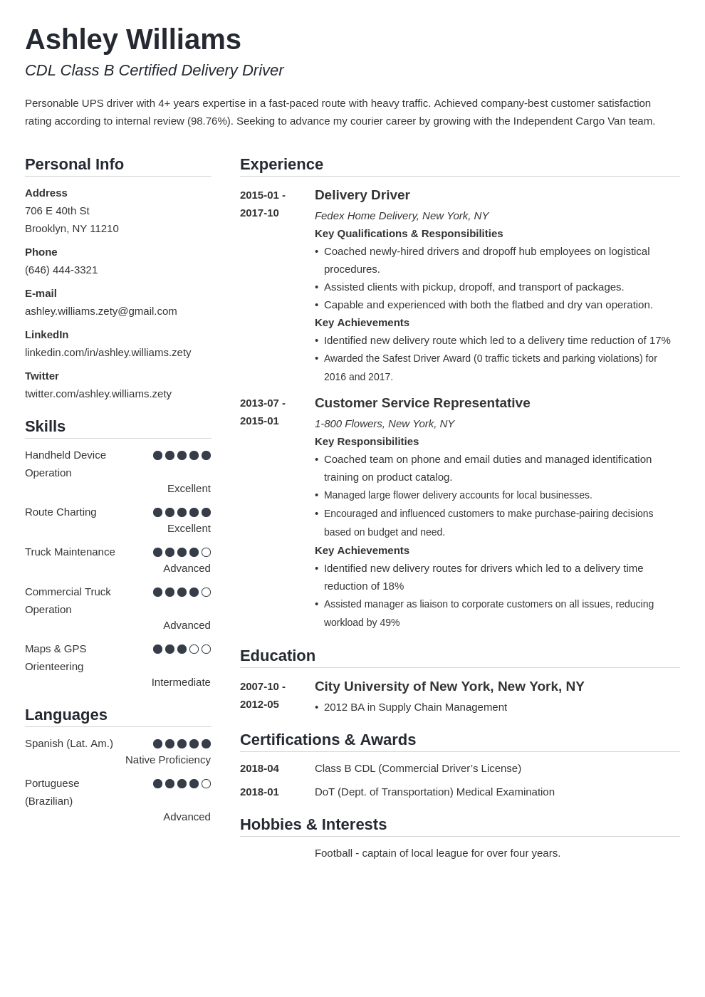 delivery driver resume example template simple