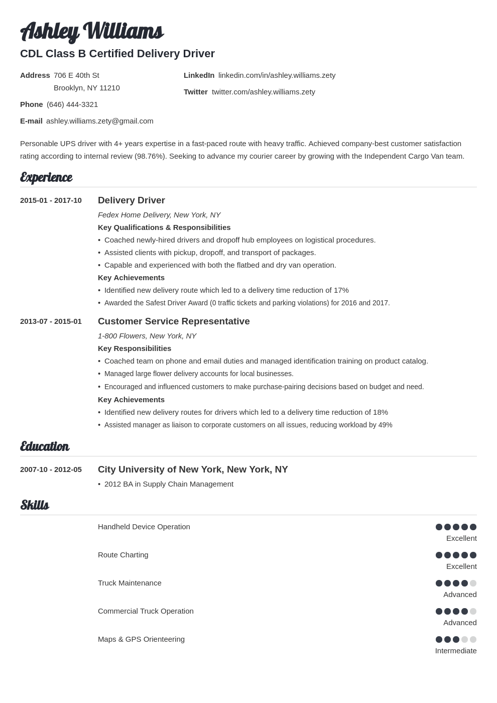 delivery driver resume example template valera