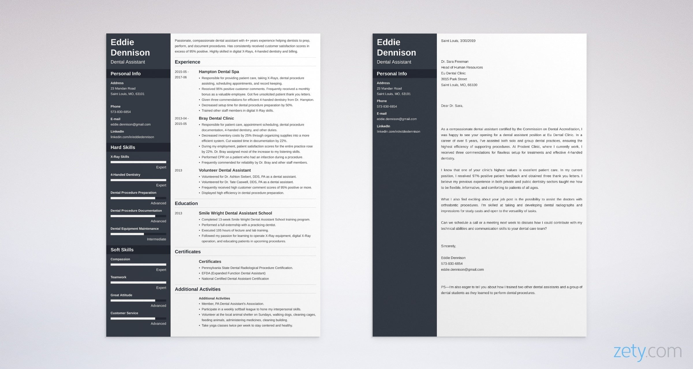 dental assistant resume and cover letter set