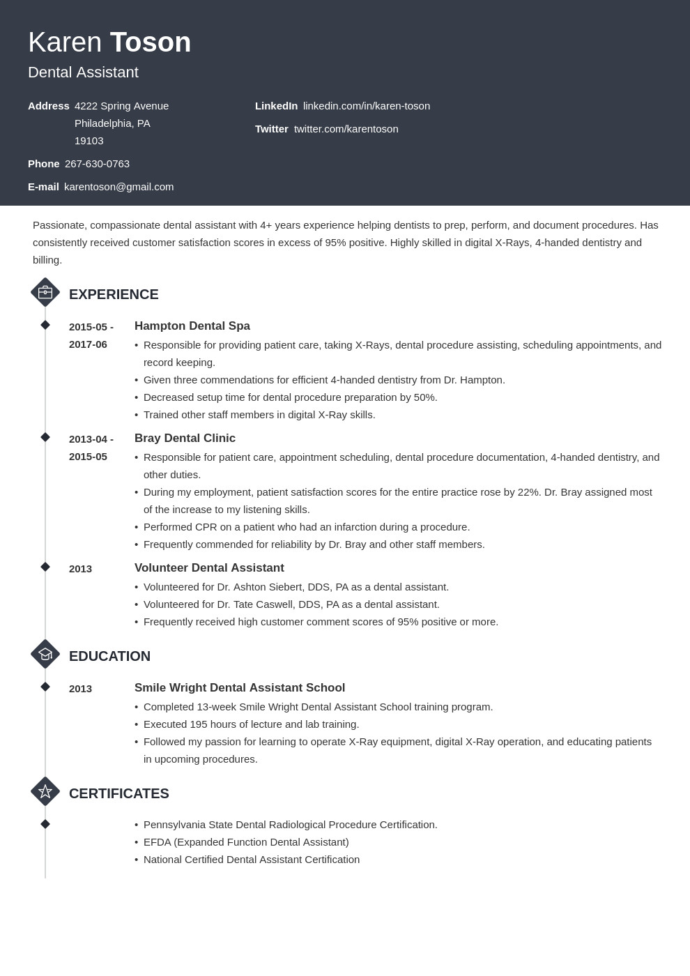 Dental Assistant Resume Sample Template Skills