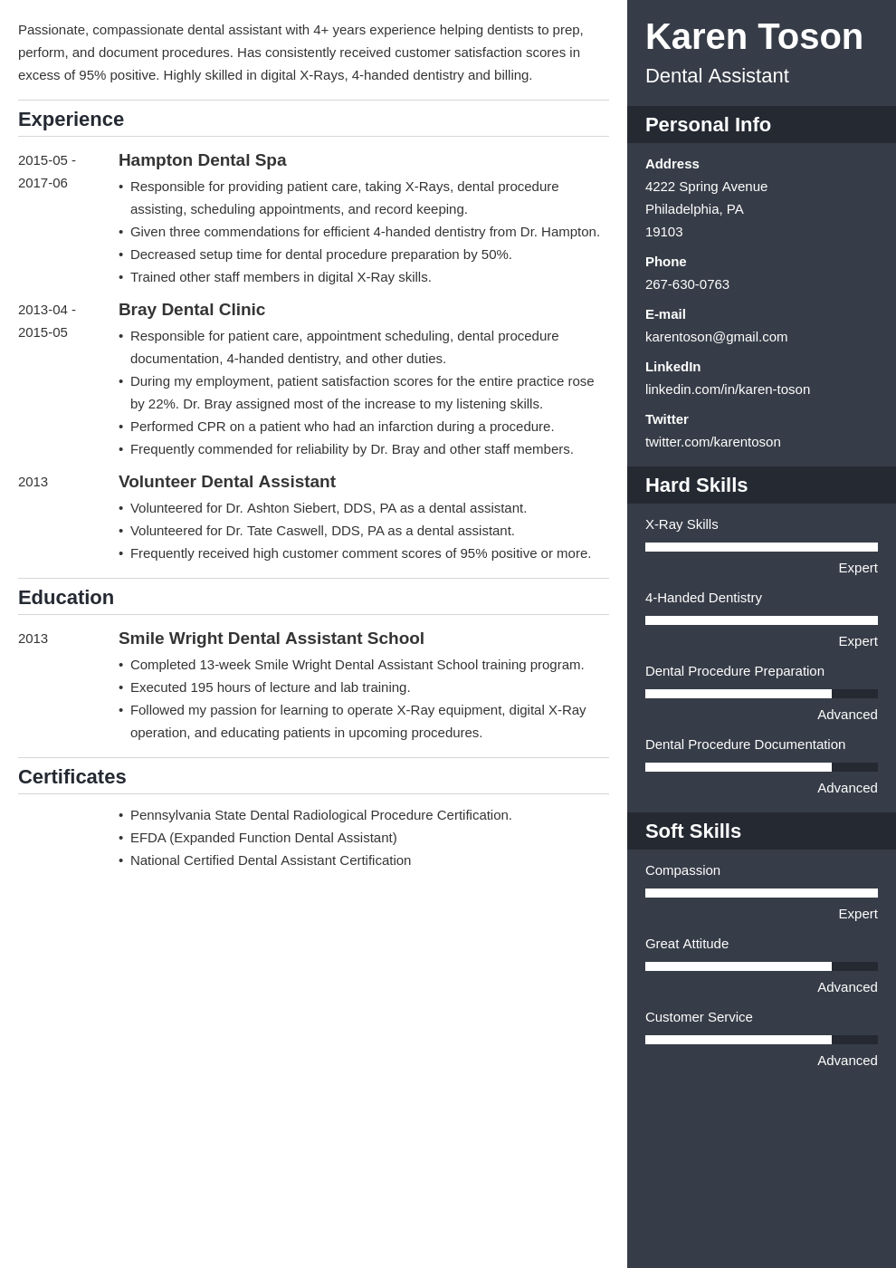 dental assistant resume template enfold