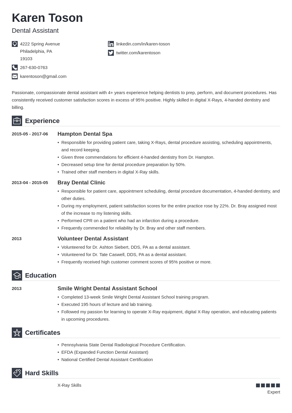 dental assistant resume template iconic