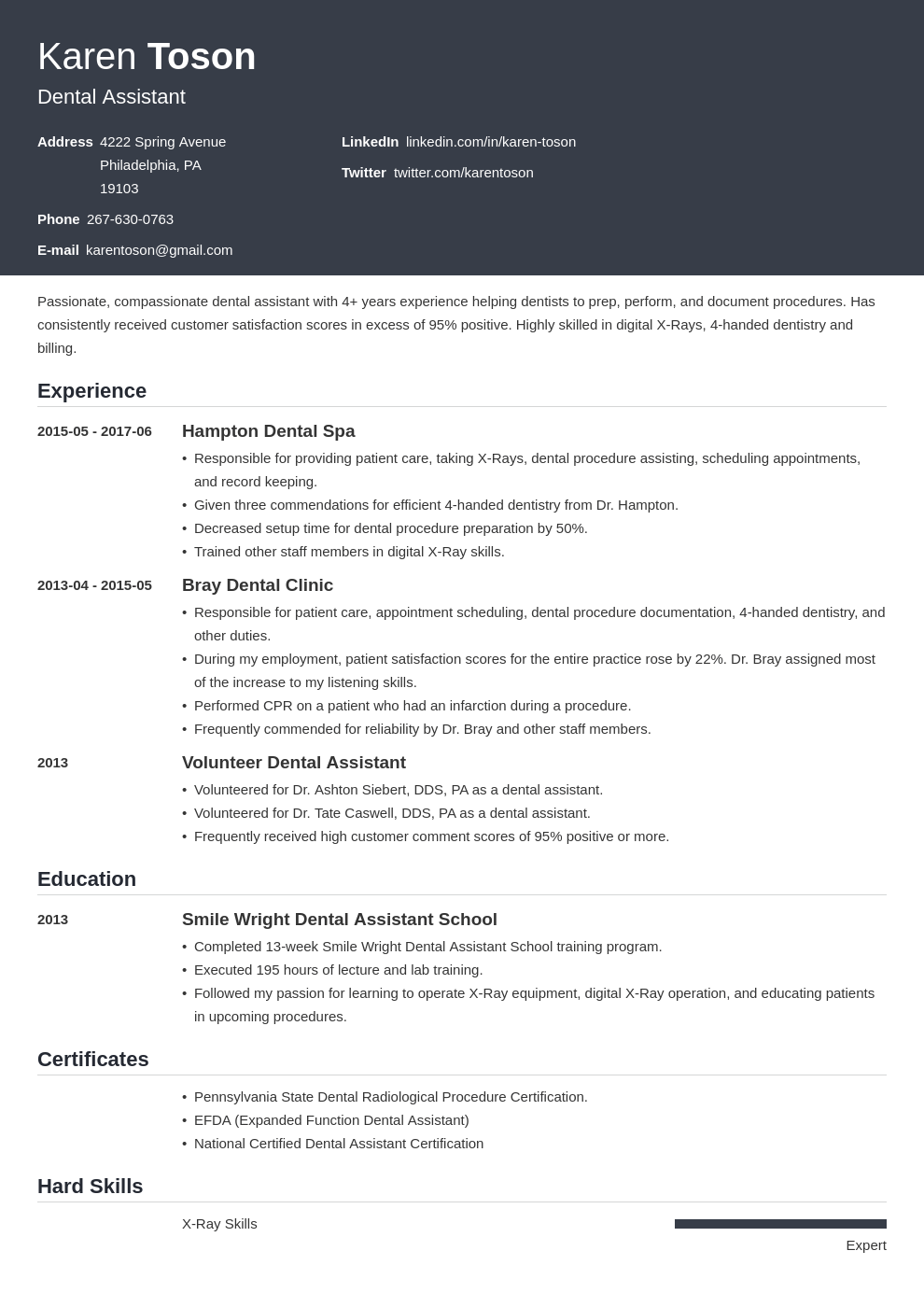 dental assistant resume template influx