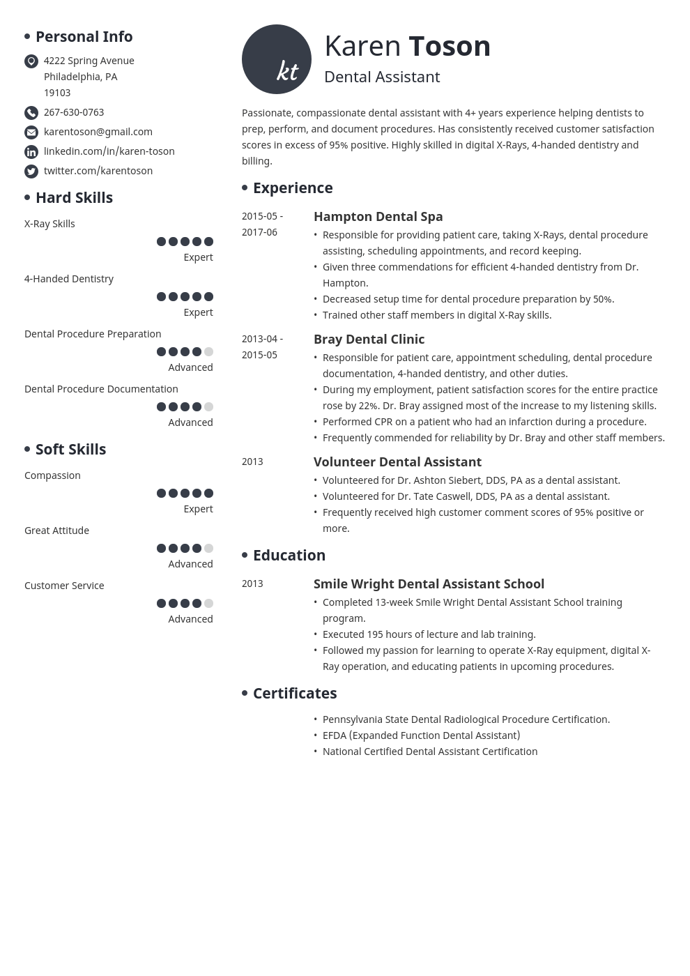 dental assistant resume template initials