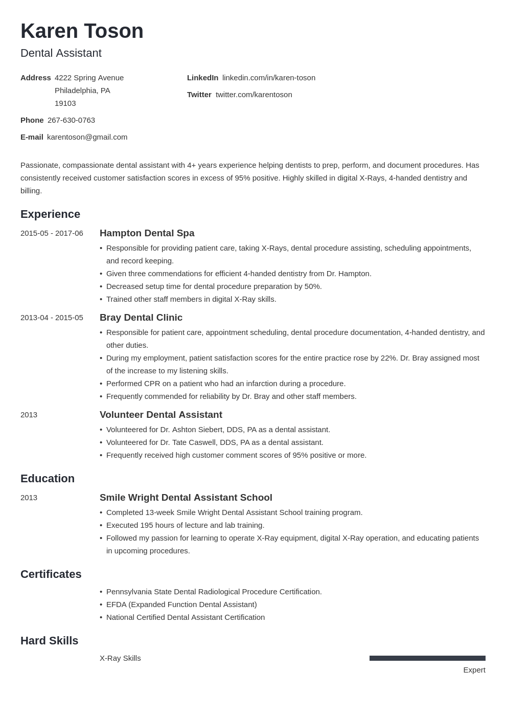 dental assistant resume template minimo