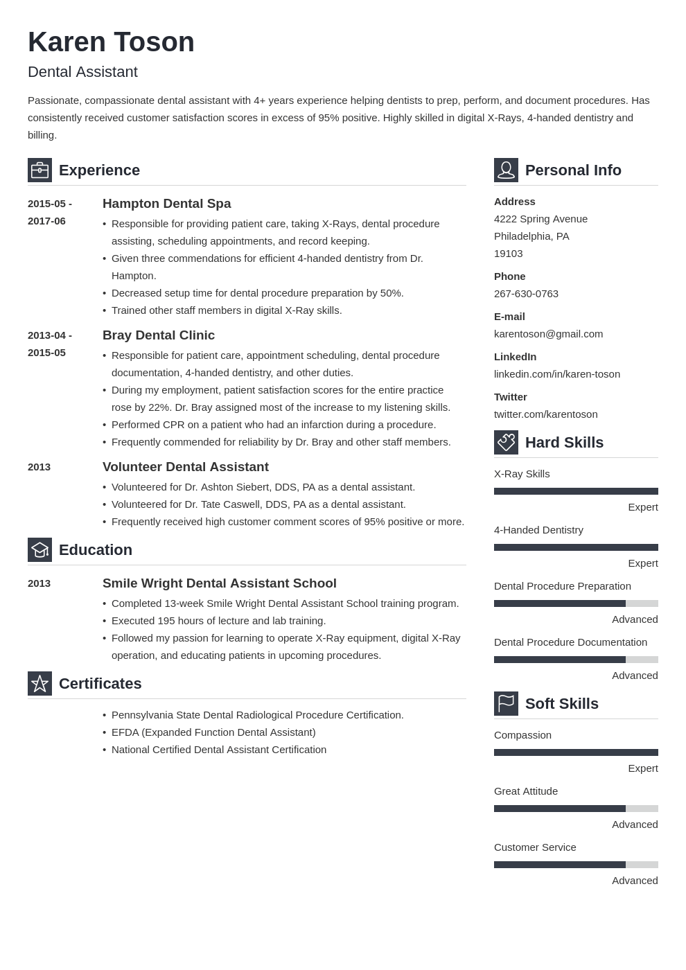 Dental Assistant Resume Sample Complete Guide 20 Examples
