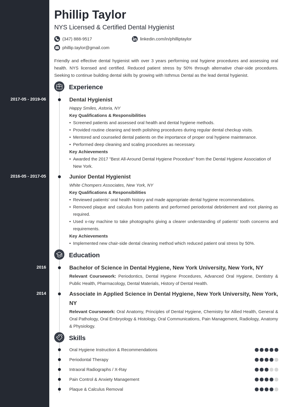 dental hygiene resume example template concept