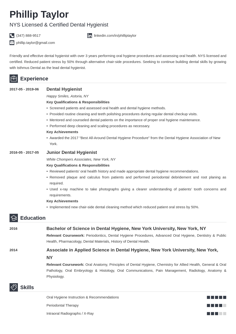 dental hygiene resume example template iconic