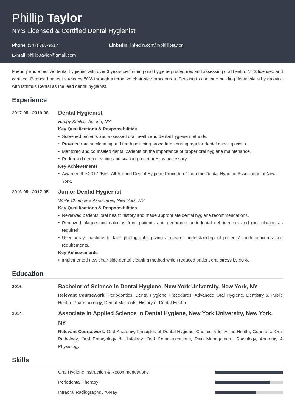 dental hygiene resume example template influx