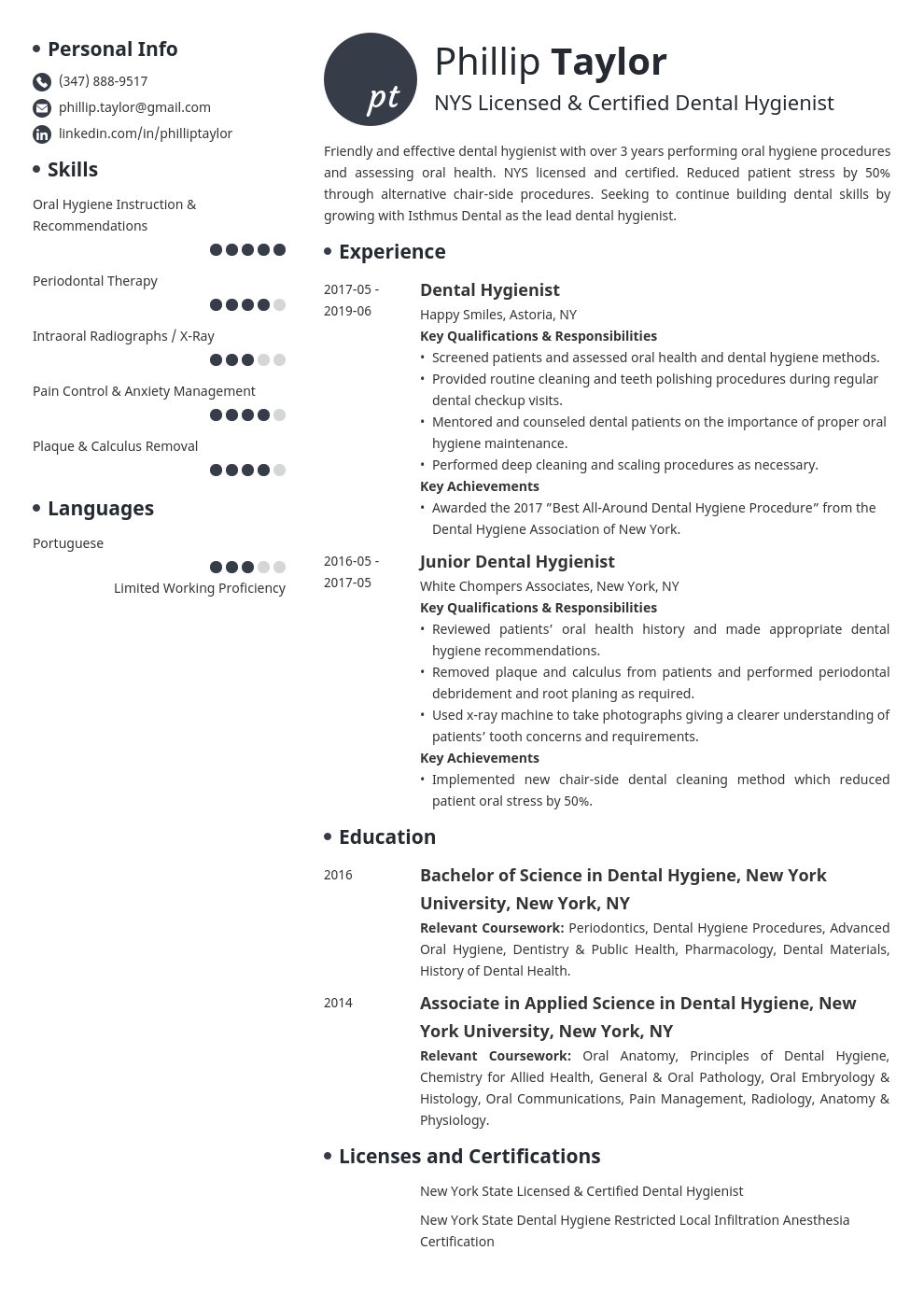 dental hygiene resume example template initials