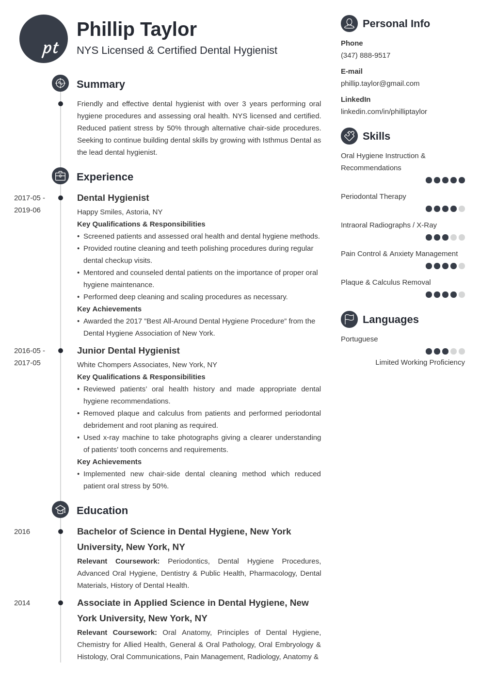 dental hygiene resume example template primo