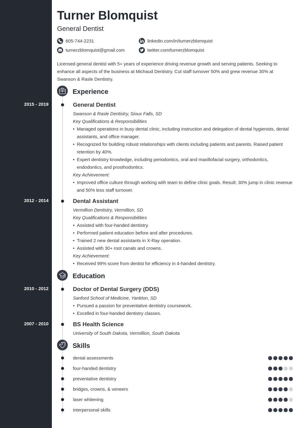 dentist resume example template concept