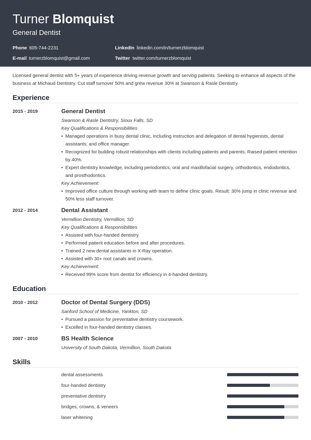 dentist resume example template influx
