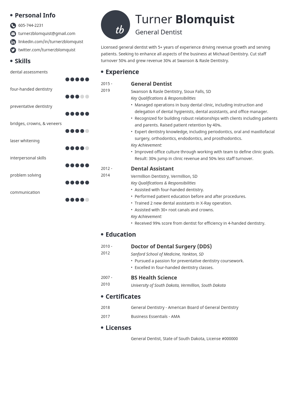 dentist resume example template initials