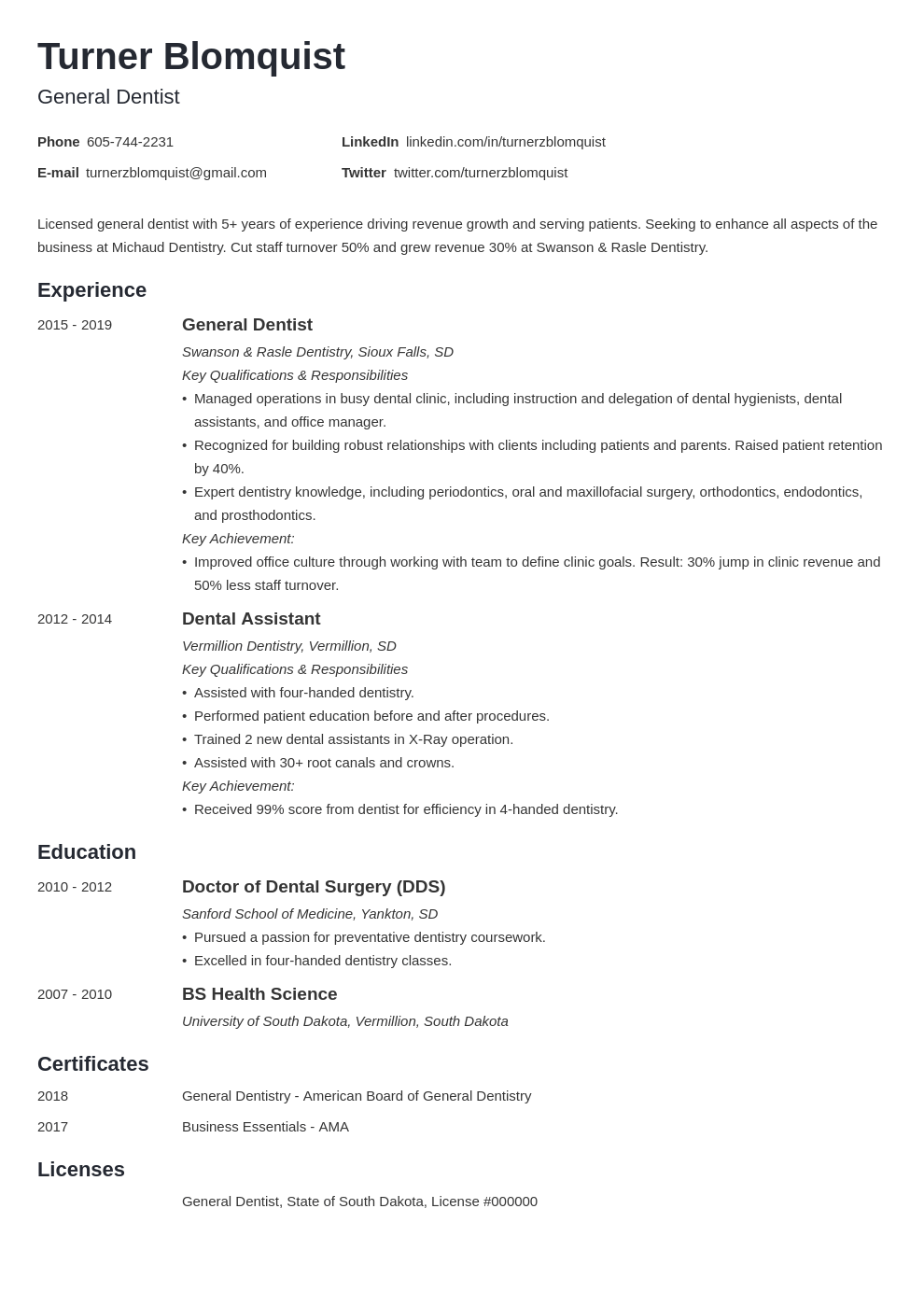 dentist resume example template minimo