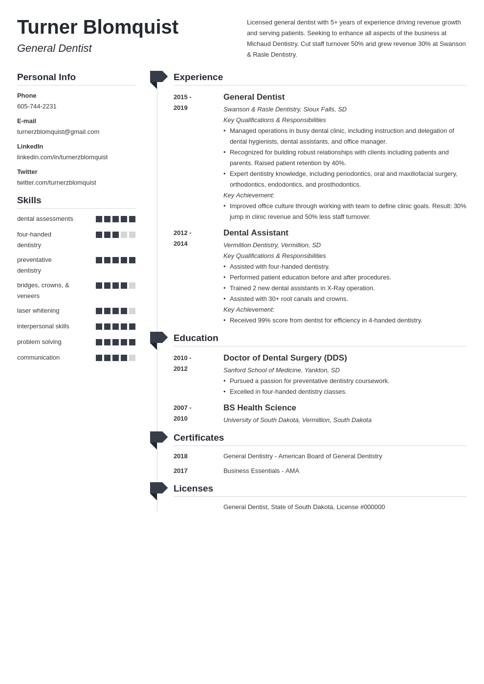 dentist resume example template muse