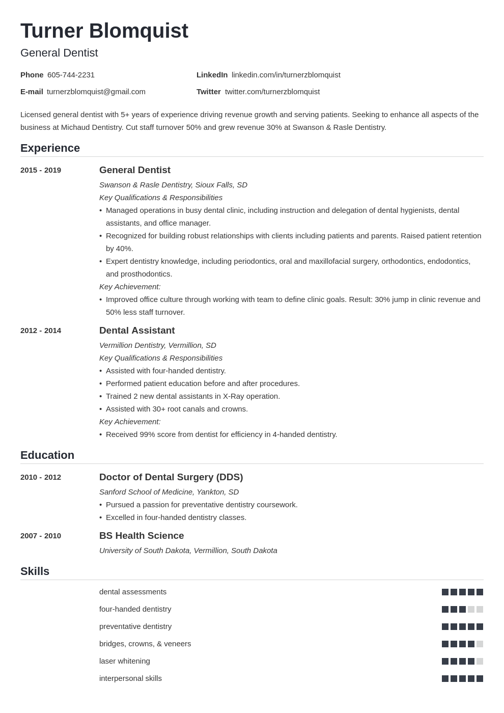 dentist resume example template nanica