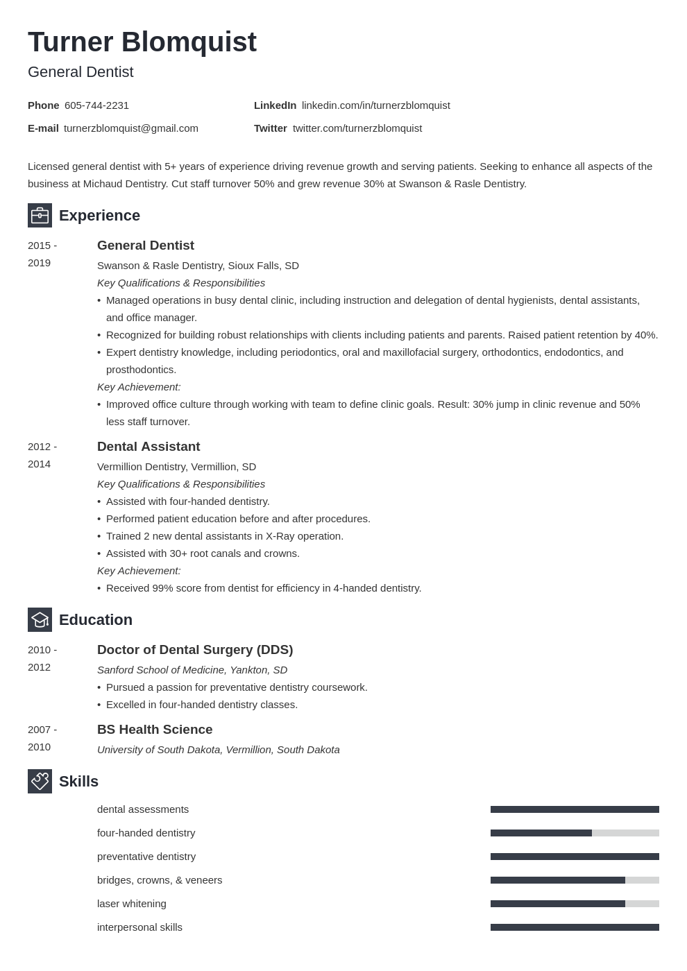 dentist resume example template newcast