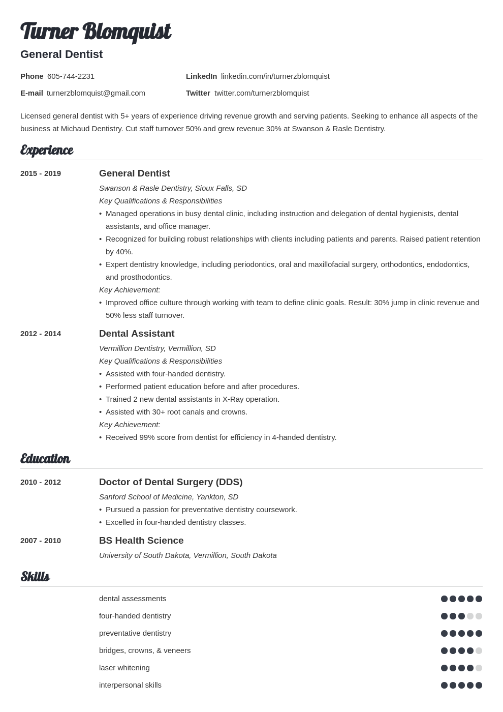 dentist resume example template valera