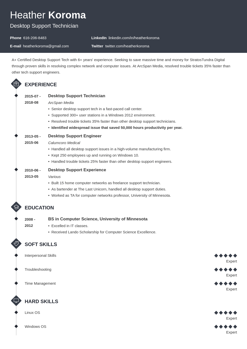 desktop support resume example template diamond