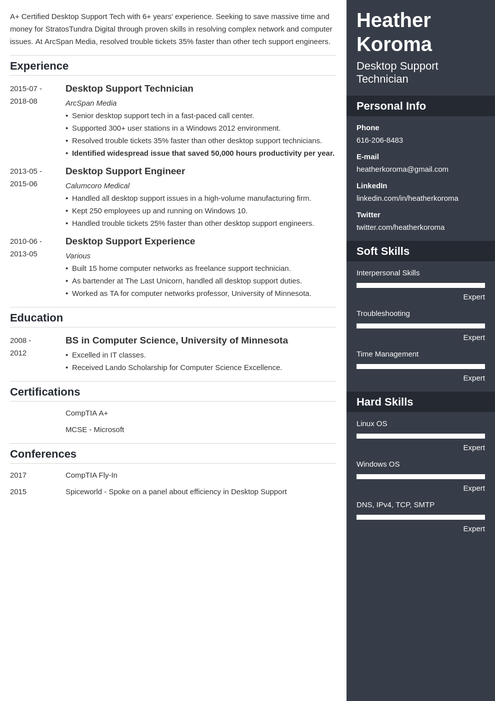 desktop support resume example template enfold