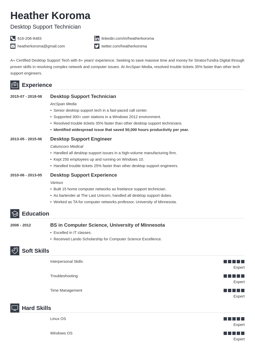 desktop support resume example template iconic