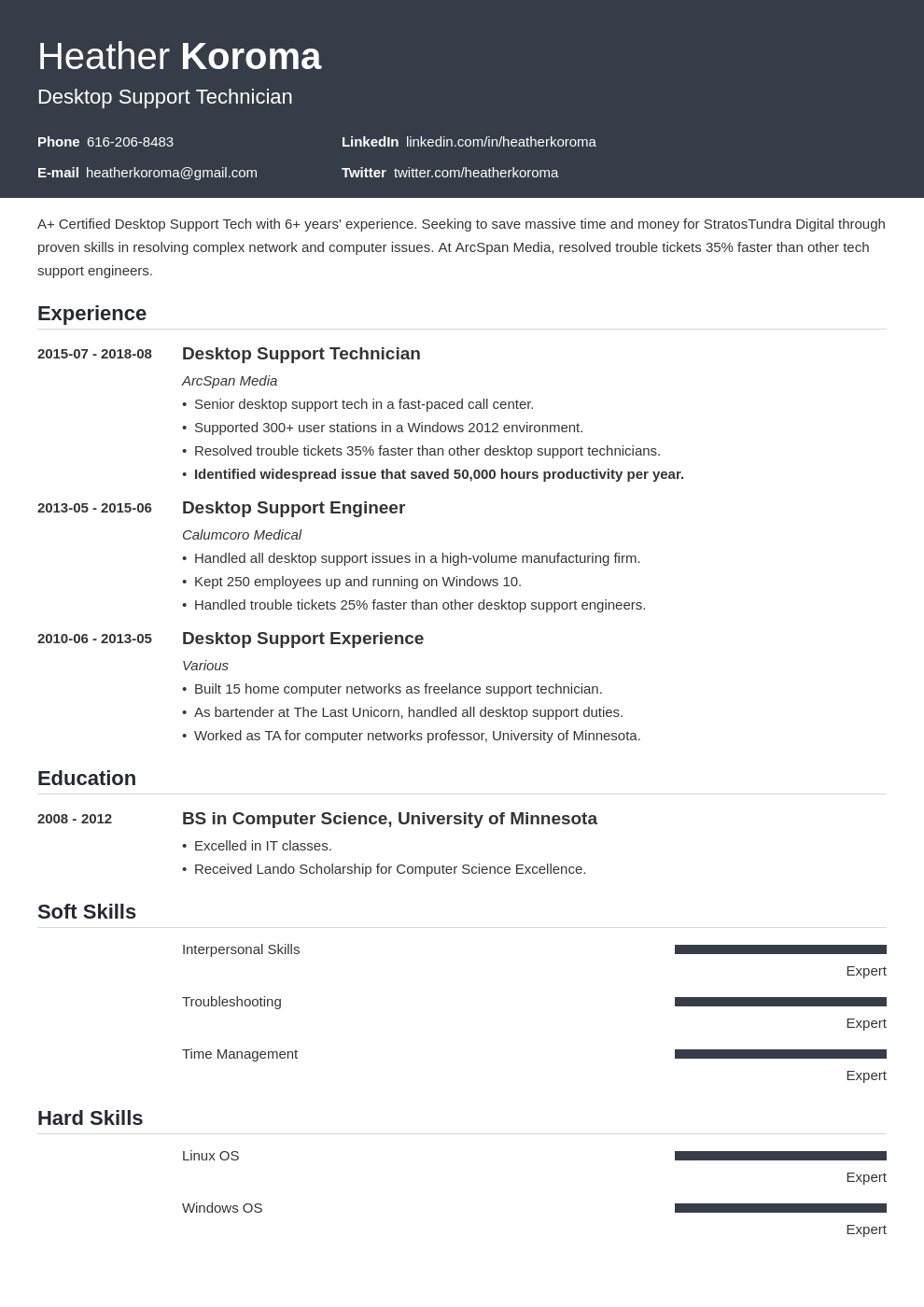 desktop support resume example template influx