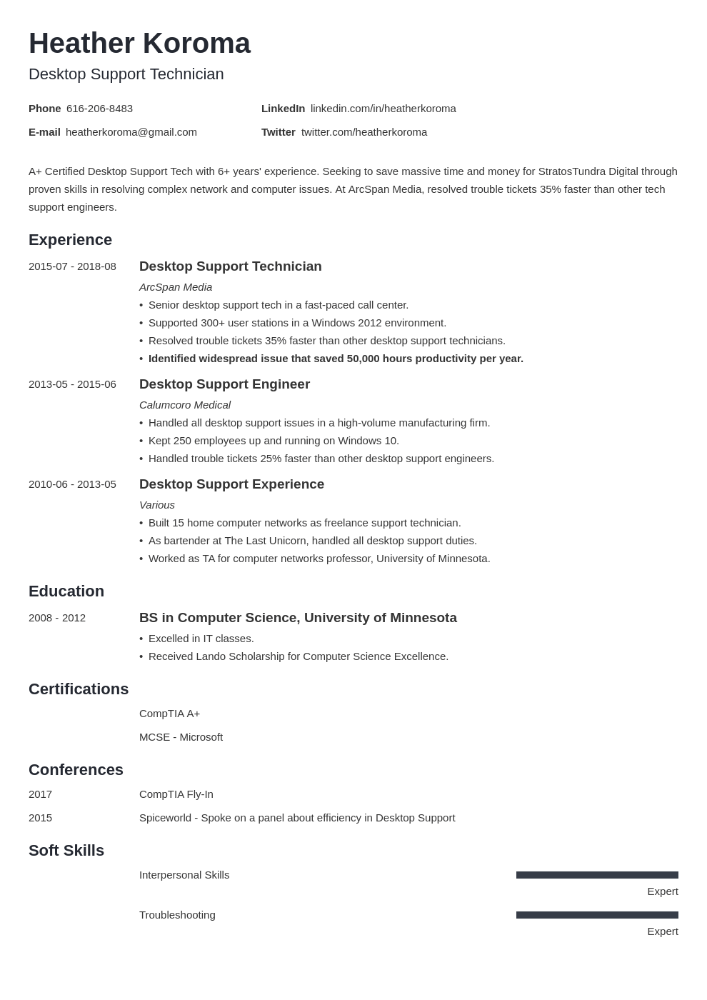 desktop support resume example template minimo