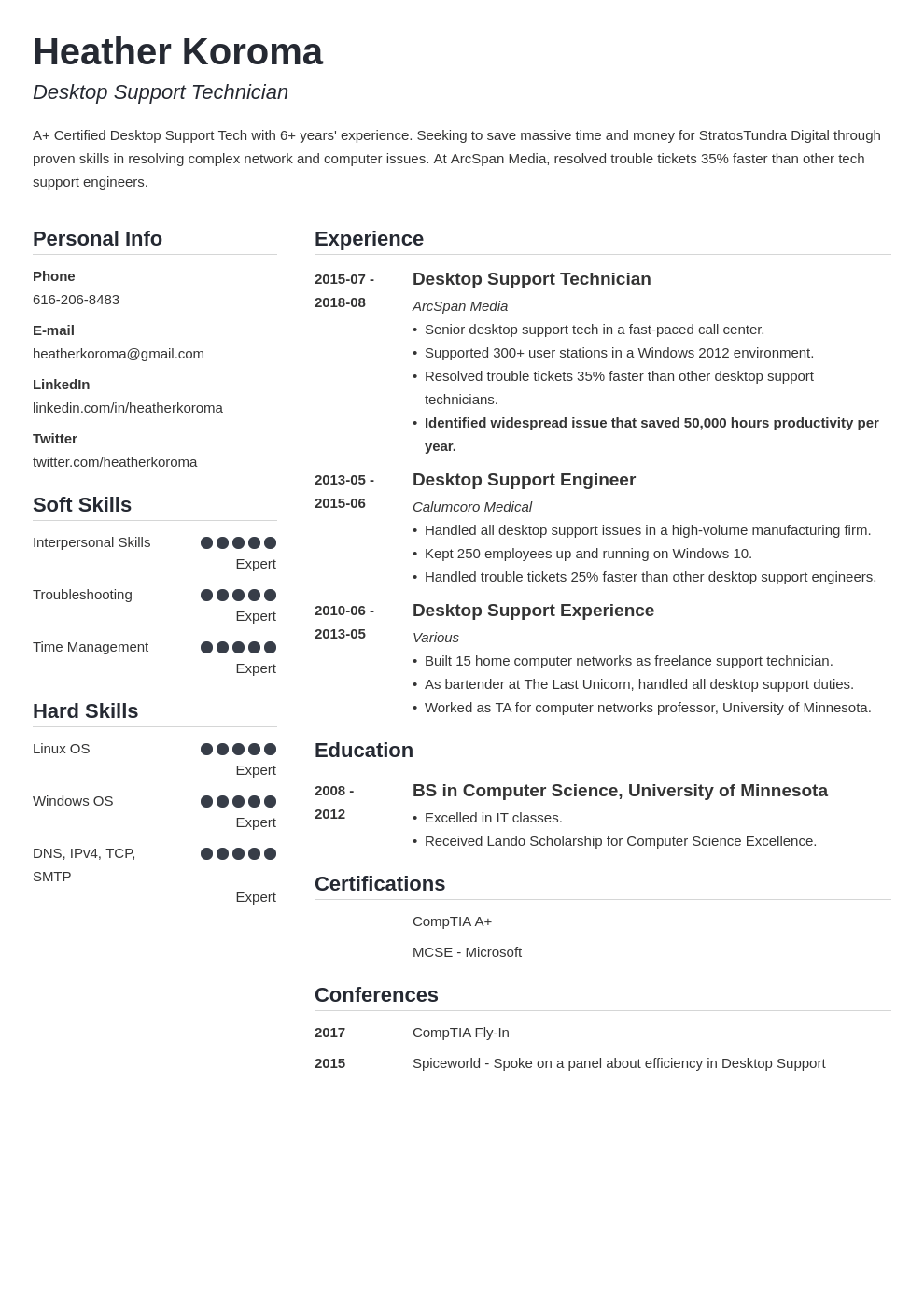 desktop support resume example template simple