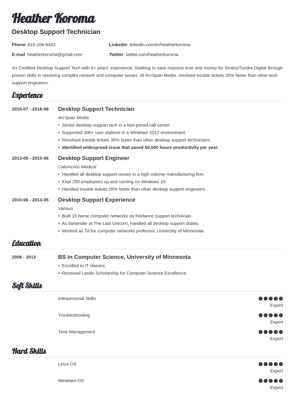 desktop support resume example template valera