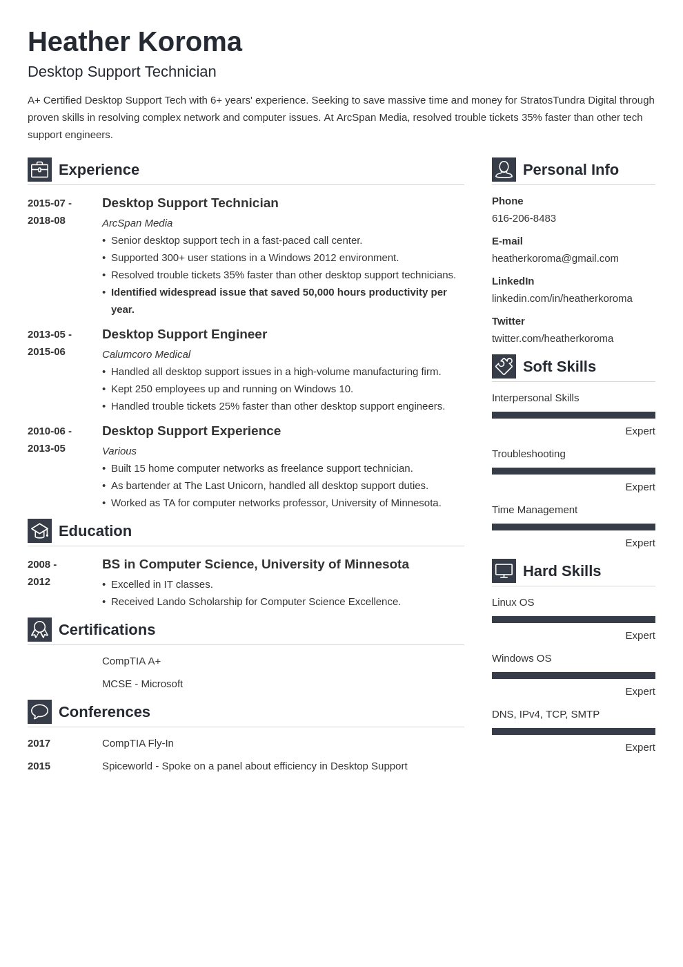 desktop support resume example template vibes