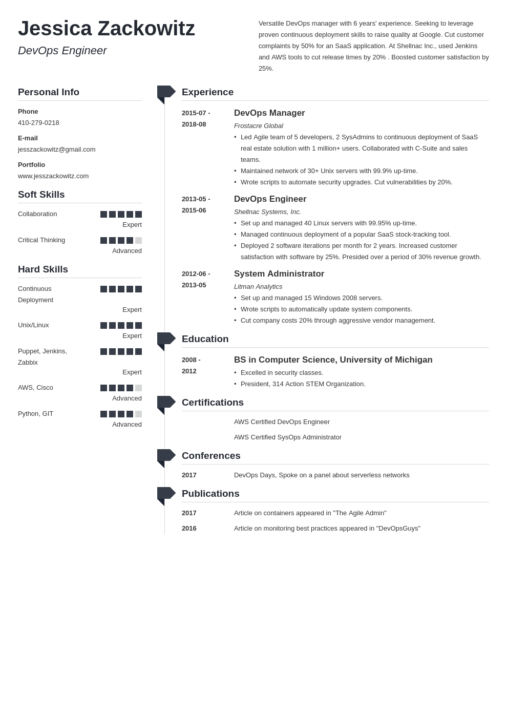 devops resume example template muse