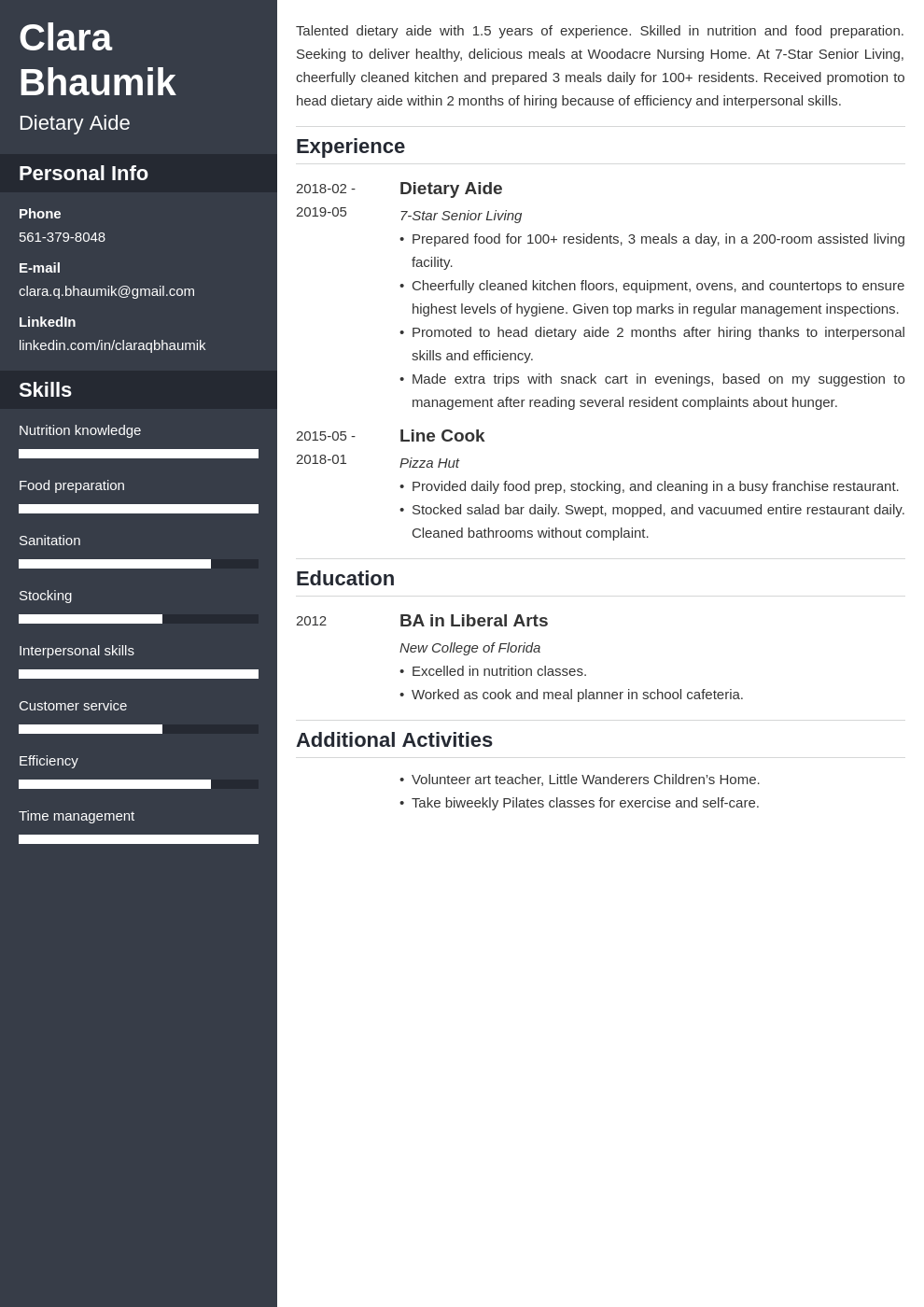 dietary aide resume example template cascade