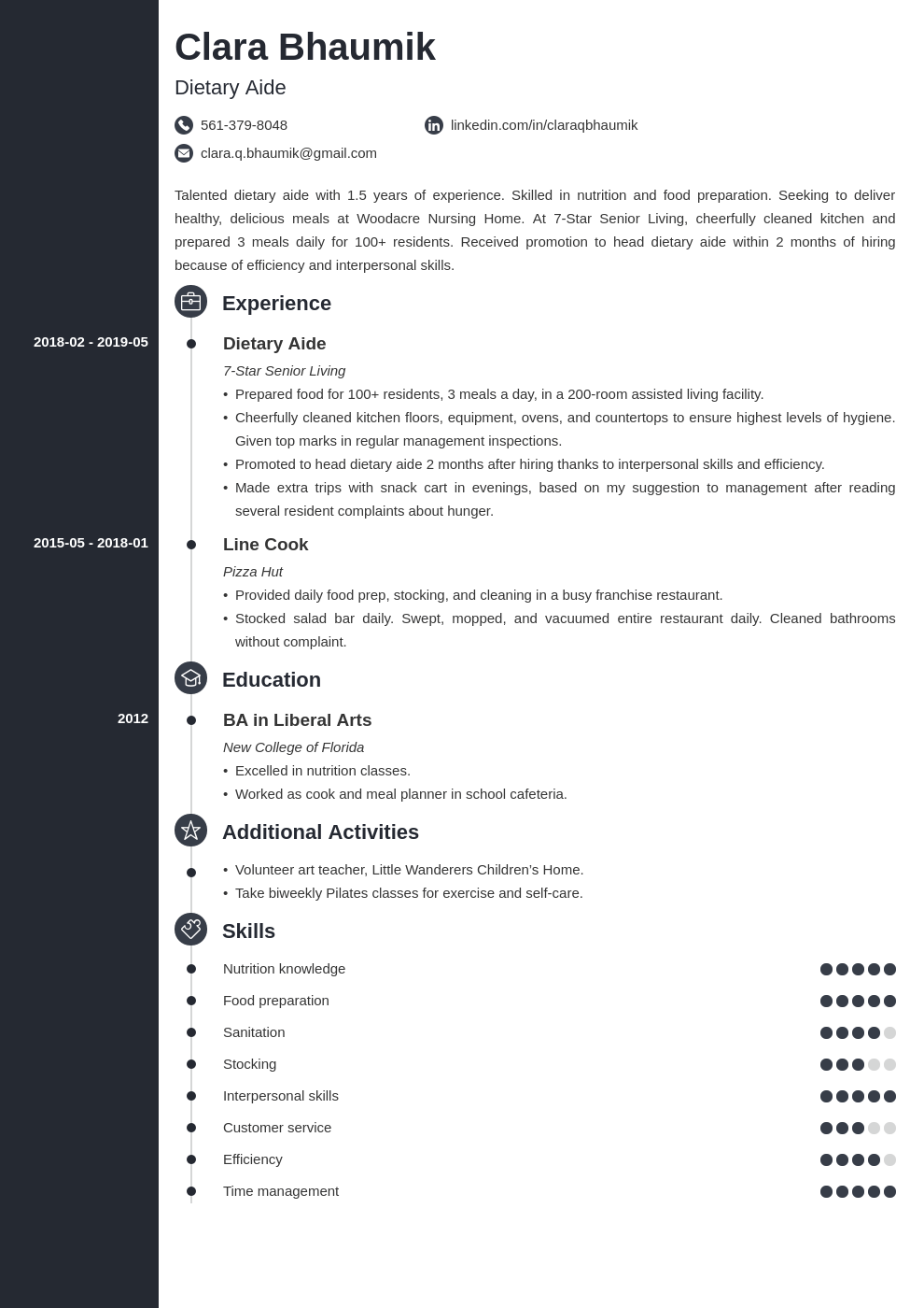 dietary aide resume example template concept